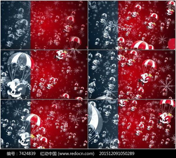 圣诞老人降落伞飘落圣诞节动态视频素材图片