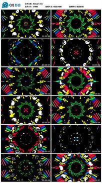 彩色性别太极图标空间递进led背景视频