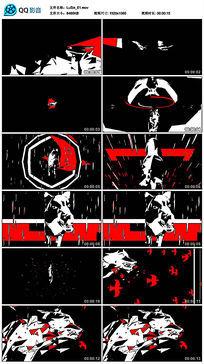 抽象动物黑白大红动感节奏狼群狼led视频素材