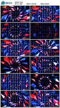 红蓝几何水晶方块led背景视频