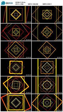 黄色动感劲爆四边形线条舞蹈led图形视频素材