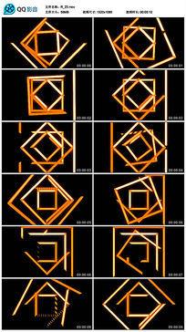 黄色动感劲爆图形四边形线条舞蹈led视频素材