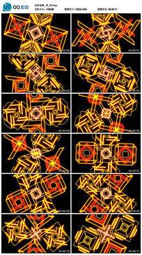 黄色几何动感劲爆四边形线条舞蹈led视频素材