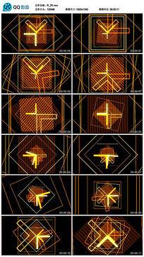 黄色图形动感劲爆四边形线条舞蹈led视频素材