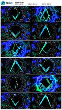 蓝色旋转运动圆规图案led背景视频