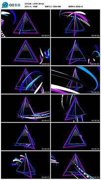 蓝紫色三维三角形立体空间线条背景led视频素材