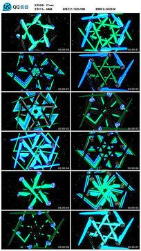 绿色旋转运动圆规万花筒图案led背景视频
