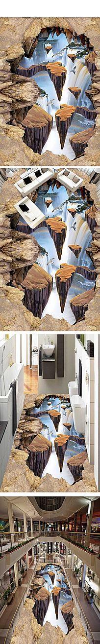 瀑布河流3D地板地画