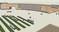 草图汽车客运站公车换乘站设计SKP模型