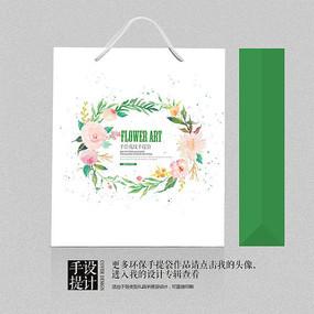 绿色中国风现代水墨手提袋设计