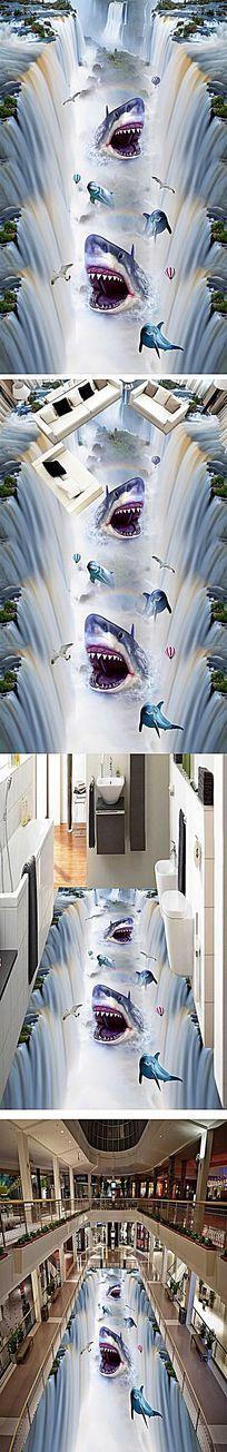 恐怖鲨鱼瀑布流水3D地画