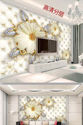欧式宫廷风珠宝花朵软包背景墙