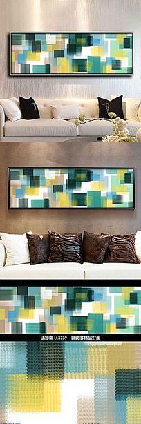歐式抽象色塊油畫床頭畫客廳裝飾畫