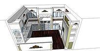 歐式花紋廚房模型設計