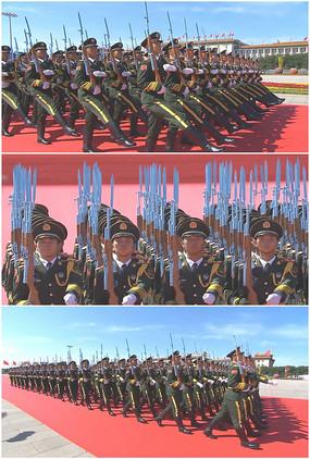 国旗护卫队正步走转齐步走实拍视频