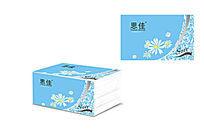 菊花浅蓝色抽取式面巾纸设计模板