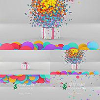 礼盒迸发的粒子logo演绎会声会影X6模板