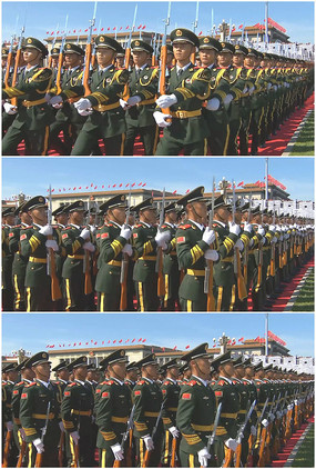 国旗护卫队踏步立定高清实拍视频
