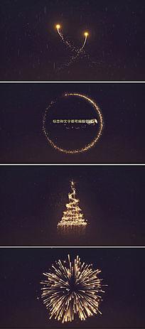 金色粒子烟花圣诞节新年片头模板
