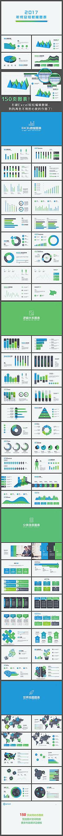 蓝绿色2017总结计划PPT图表
