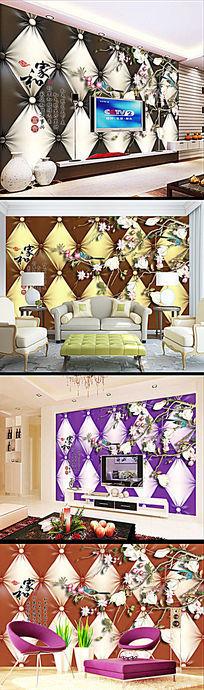 软包工笔玉兰家和富贵壁纸背景墙