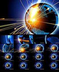 蓝色商务科技线条环绕星球视频素材