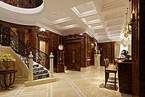 别墅客厅过道空间3DMAX模型素材下载附贴图