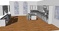典雅欧式宽敞厨房模型