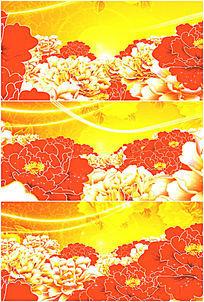 华丽金色大红色富贵牡丹花丛高清视频