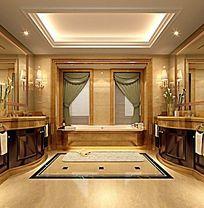 酒店高档客房主卫3DMAX模型素材下载附贴图