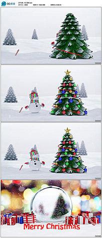 雪人打开礼盒圣诞树节日祝福视频