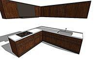 厨房木质橱柜柜子模型