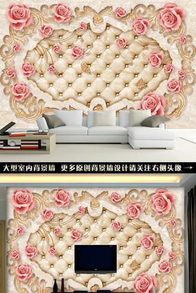 欧式香槟玫瑰软包背景墙