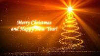 金黄色粒子圣诞节新年开场背景视频