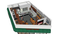 精品面包店室内模型设计