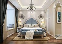 欧式风格住宅室主卧3DMAX模型素材下载附贴图