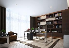 现代简约风格书房3D效果图附贴图