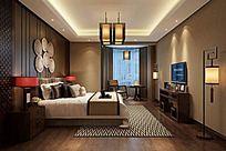 中式风格别墅卧室3DMAX素材下载附贴图