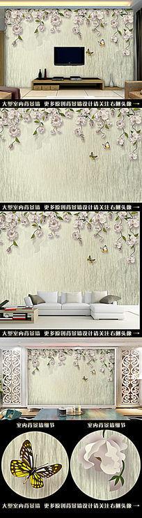 手绘复古花藤电视背景墙