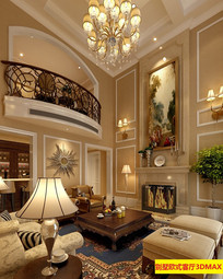 别墅欧式风格客厅3DMAX模型和效果图(附贴图)
