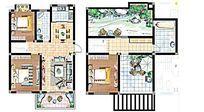 二层住宅彩色平面图