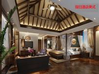 假日酒店美式3DMAX模型素材下载(附贴图)