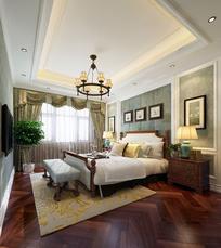 美式风格豪华卧室3DMAX模型素材下载(附帖图)