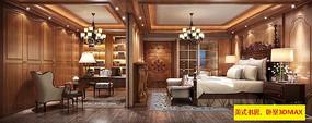 美式书房、卧室3DMAX模型素材下载(附贴图)