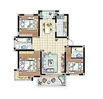 三房一厅彩色户型图