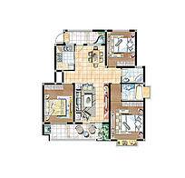 三室一厅住宅彩色平面图