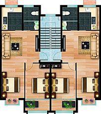 小户型公寓彩色平面图