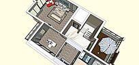 别墅草图skp设计室内家装