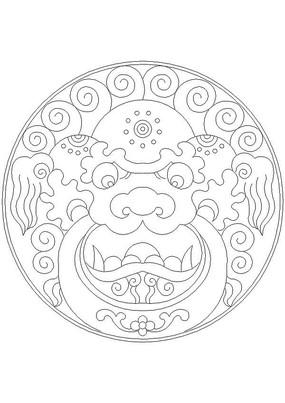 龙纹图案门环CAD