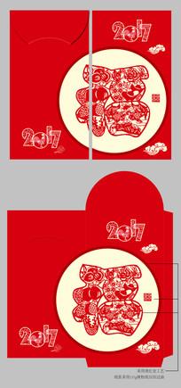 2017鸡年红色创意新年春节红包设计